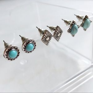 Free People Jewelry - Silver And Turquoise Earring Bundle